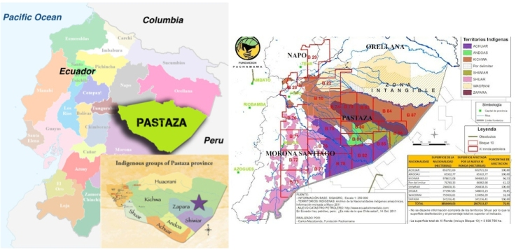 (left) Sapara territory, Pastaza Province, Ecuador; (right) oil block concessions in east Ecuador, including Sápara territory (in dark red). Click to enlarge.